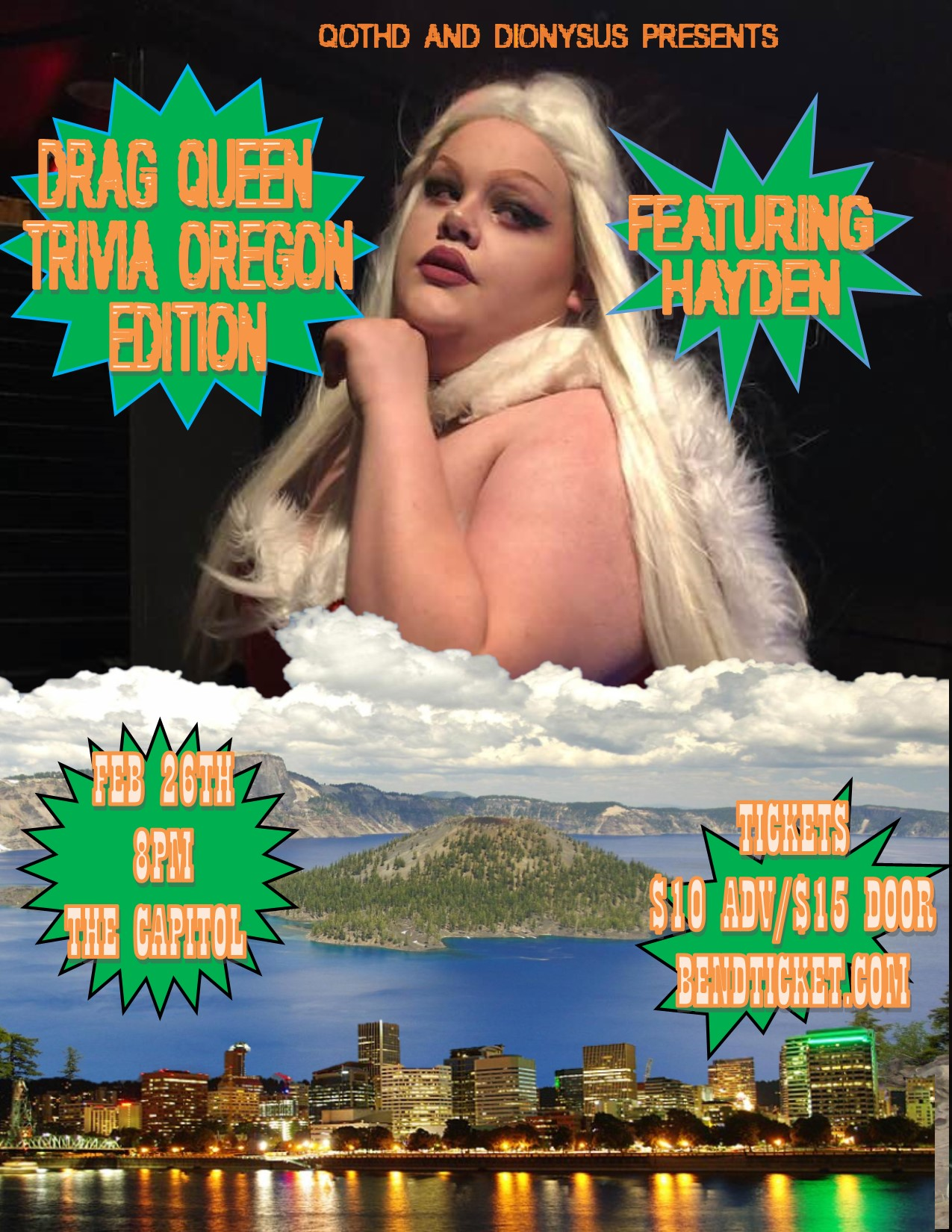 Drag Queen Trivia: OREGON EDITION Tickets   The Capitol   Bend, OR   Tue,  Feb 26 from 8pm - 9:30pm   Bend Ticket