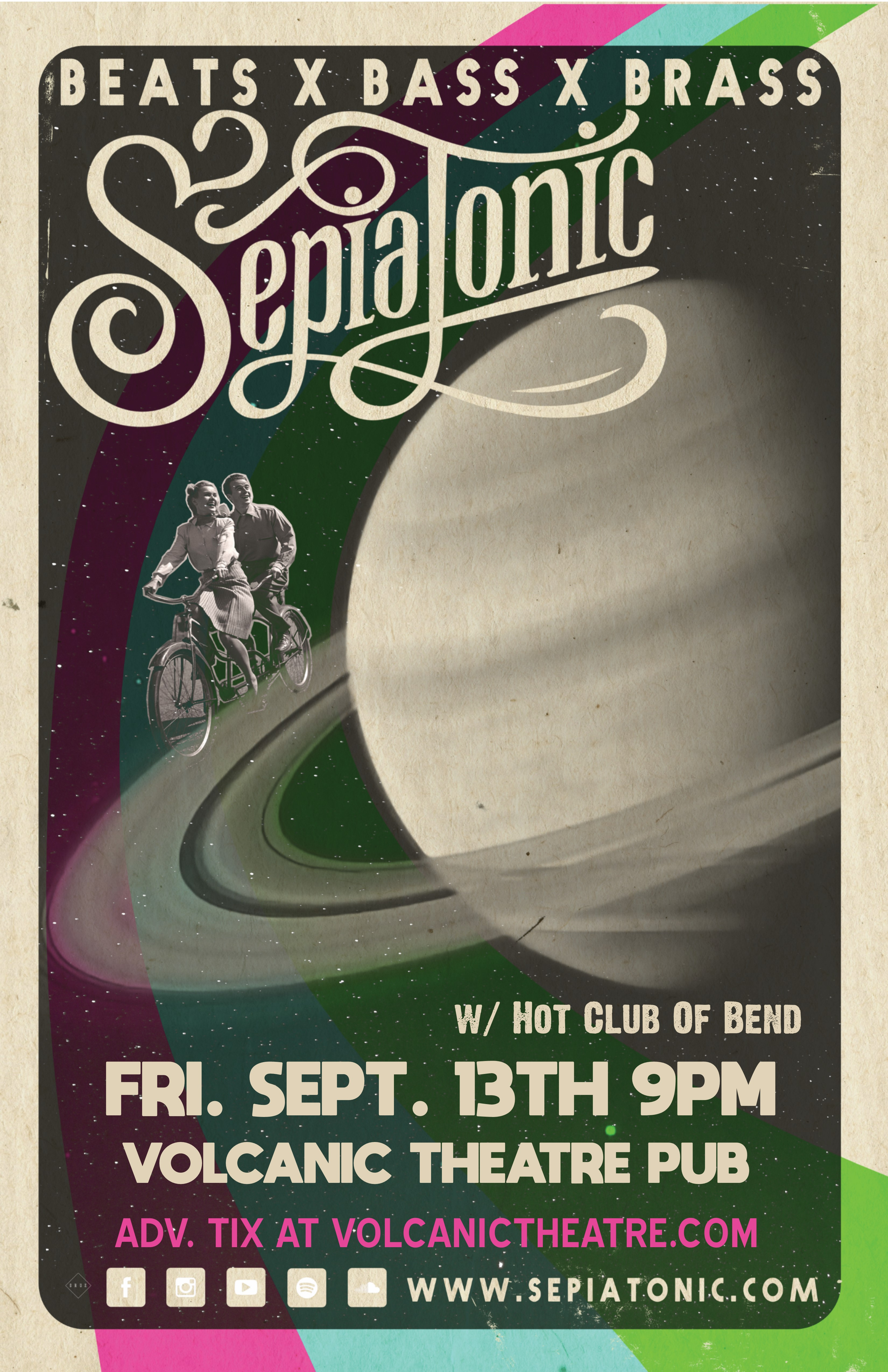 Sepiatonic w/ Hot Club Of Bend at Volcanic Tickets   Volcanic Theatre Pub    Bend, OR   Fri, Sep 13 at 9pm   Bend Ticket